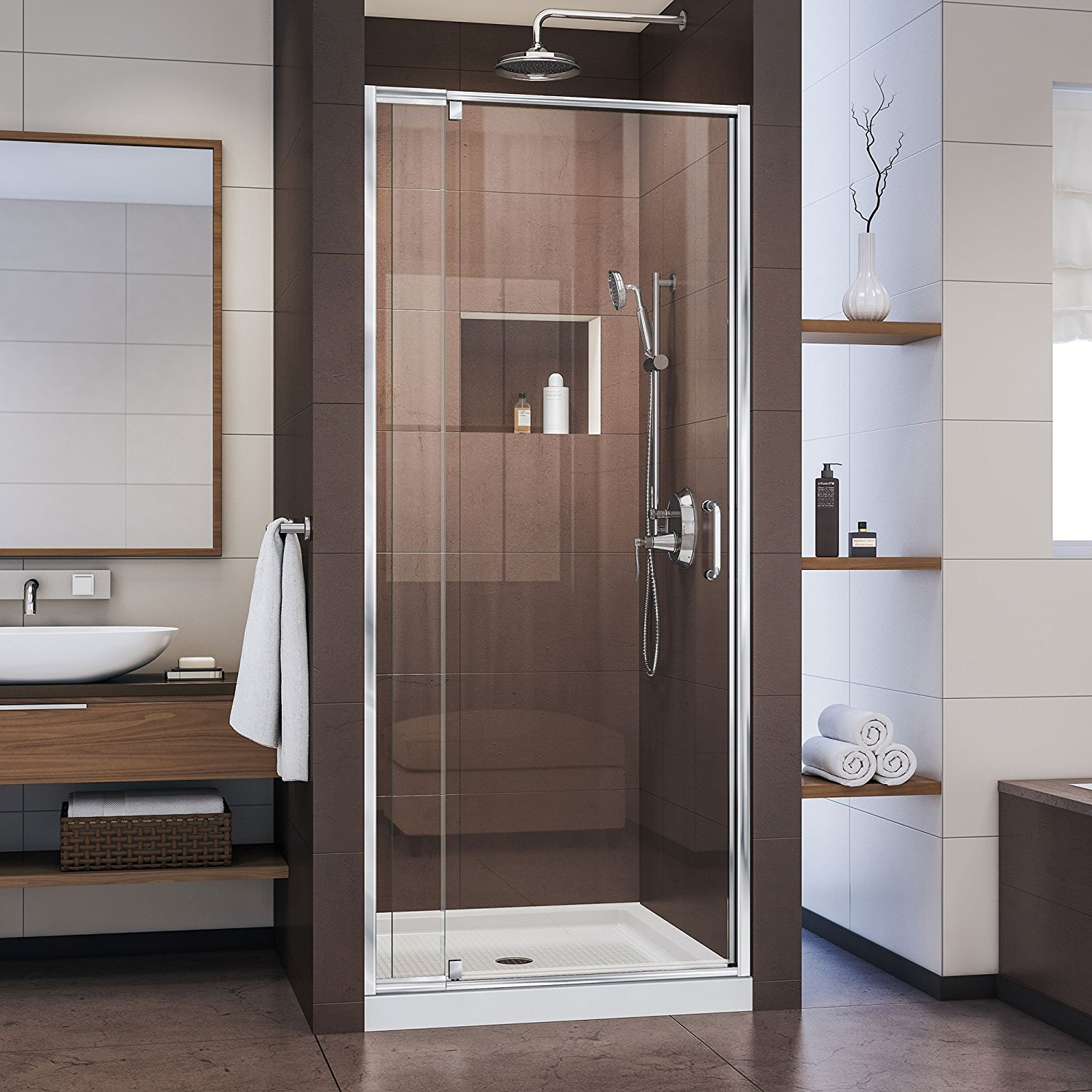 "DreamLine Flex 32-36 in. Width, Frameless Pivot Shower Door, 1/4"" Glass, Chrome Finish"