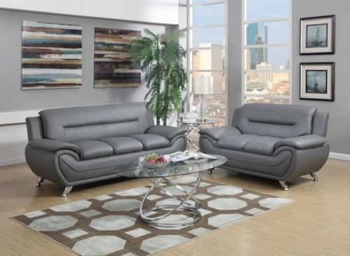 GTU Furniture Contemporary Bonded Leather Sofa & Loveseat Set, 2 Piece Sofa Set (GRAY)