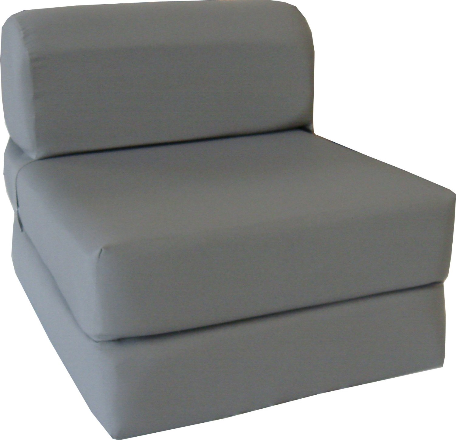 "Gray Sleeper Chair Folding Foam Bed Sized 6"" Thick X 32"" Wide X 70"" Long, Studio Guest Foldable Chair Beds, Foam Sofa, Couch, High Density Foam 1.8 Pounds."