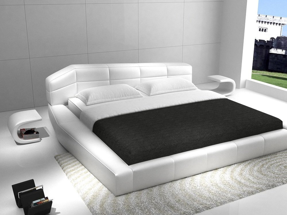 J&M Furniture Dream White Leather Queen Size Bedroom Set