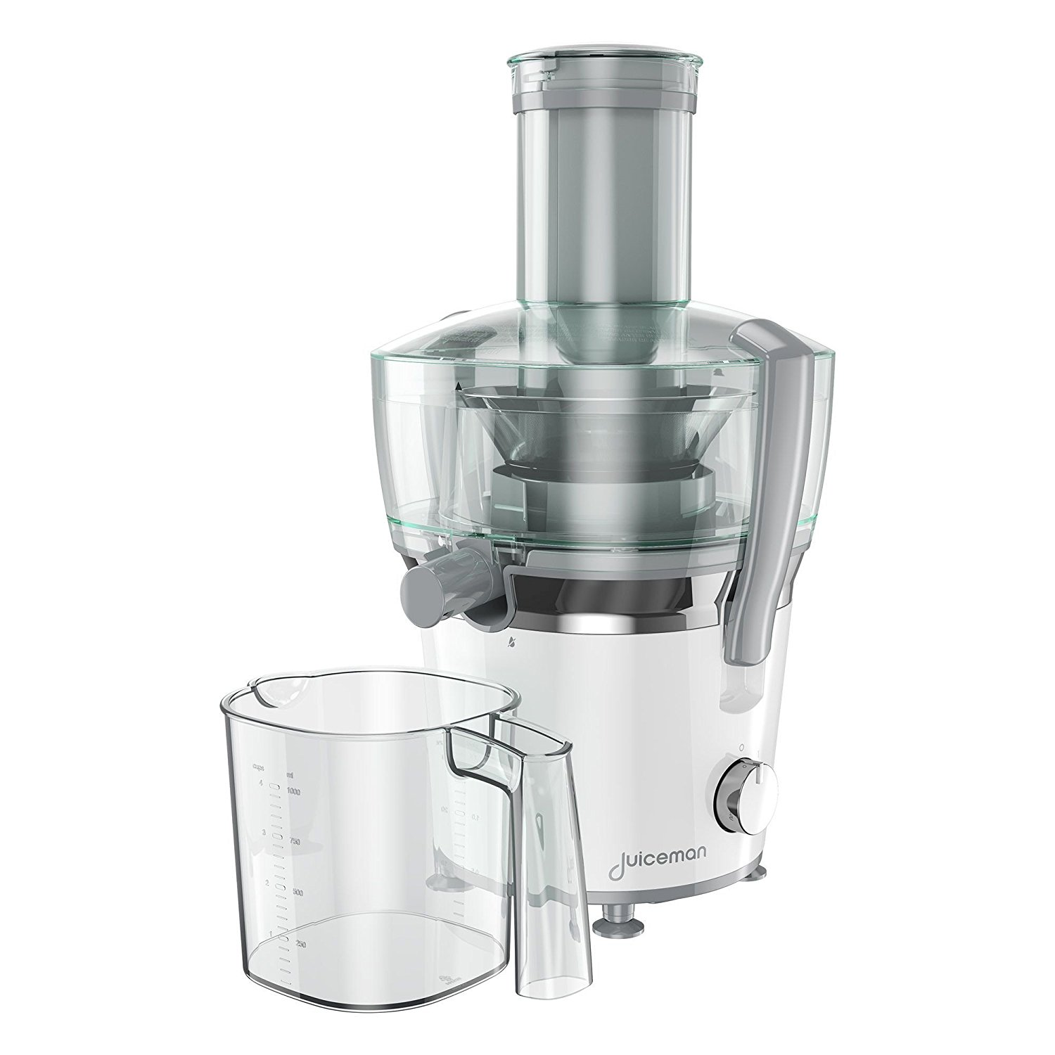 Juiceman JM850 Power Plus 2 Speed Compact Juicer & Citrus Juicer with 28oz. Removable Pulp Container & 32oz. Juice Pitcher