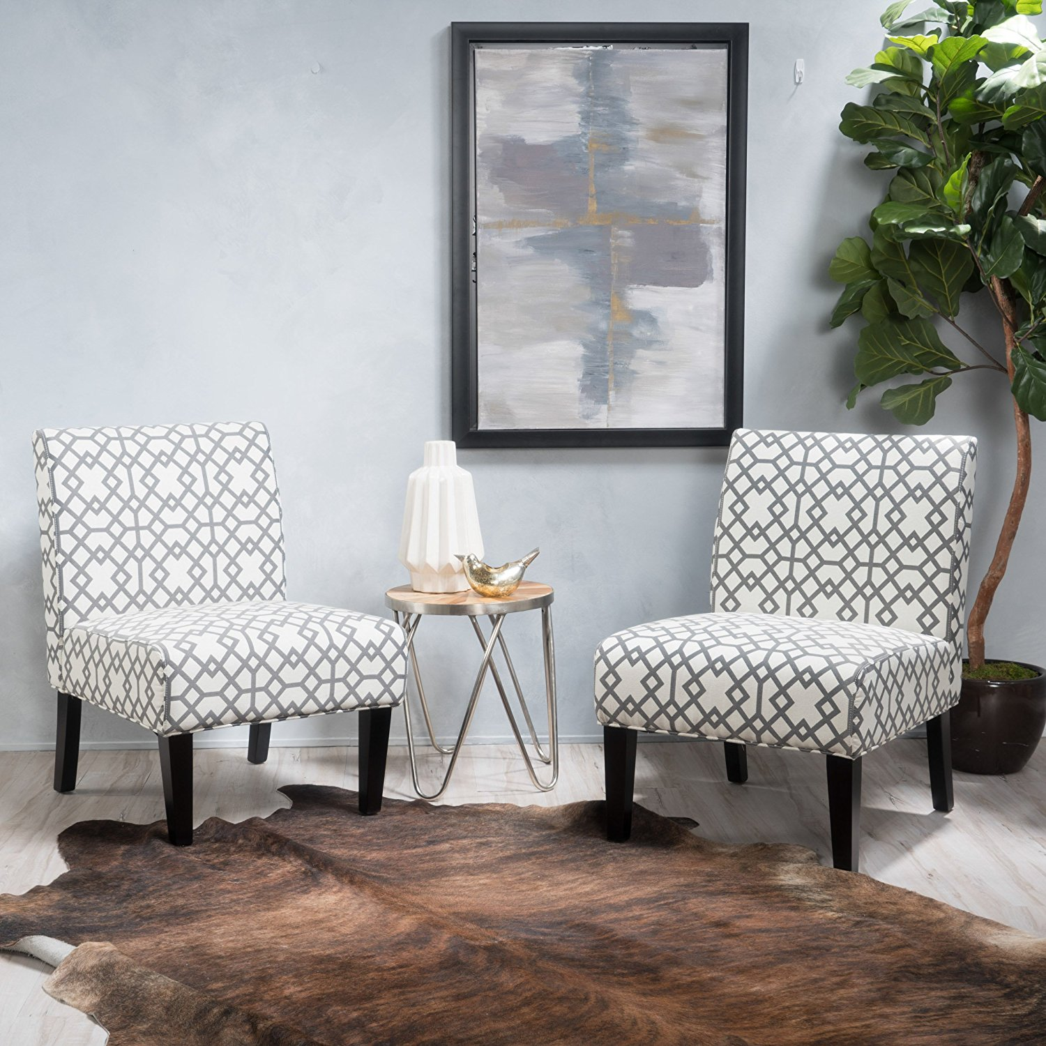 Kendal Grey Geometric Patterned Fabric Accent Chair (Set of 2)