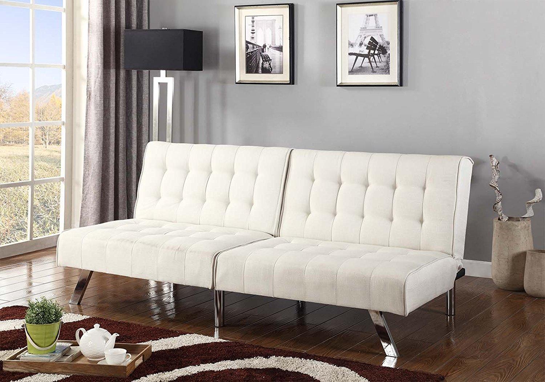 "Light Beige Linen With Split Back Adjustable Klik Klak Sofa Futon Bed Sleeper Convertible Quality 275beige 77"" Wide"
