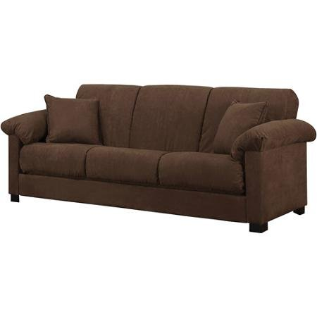 Montero Microfiber Convert-A-Couch Sofa Bed, Dark Brown