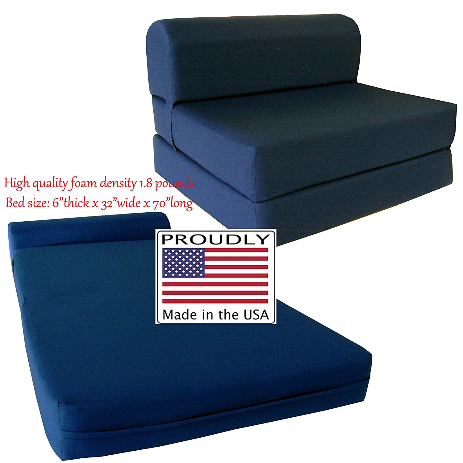 "Navy Sleeper Chair Folding Foam Bed Sized 6"" Thick X 32"" Wide X 70"" Long, Studio Guest Foldable Chair Beds, Foam Sofa, Couch, High Density Foam 1.8 Pounds."