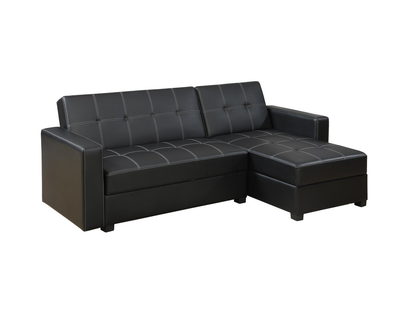 Poundex F7894 Bobkona Medora Faux Leather Left or Right Hand Chaise Adjustable Sectional with Compartment, Black