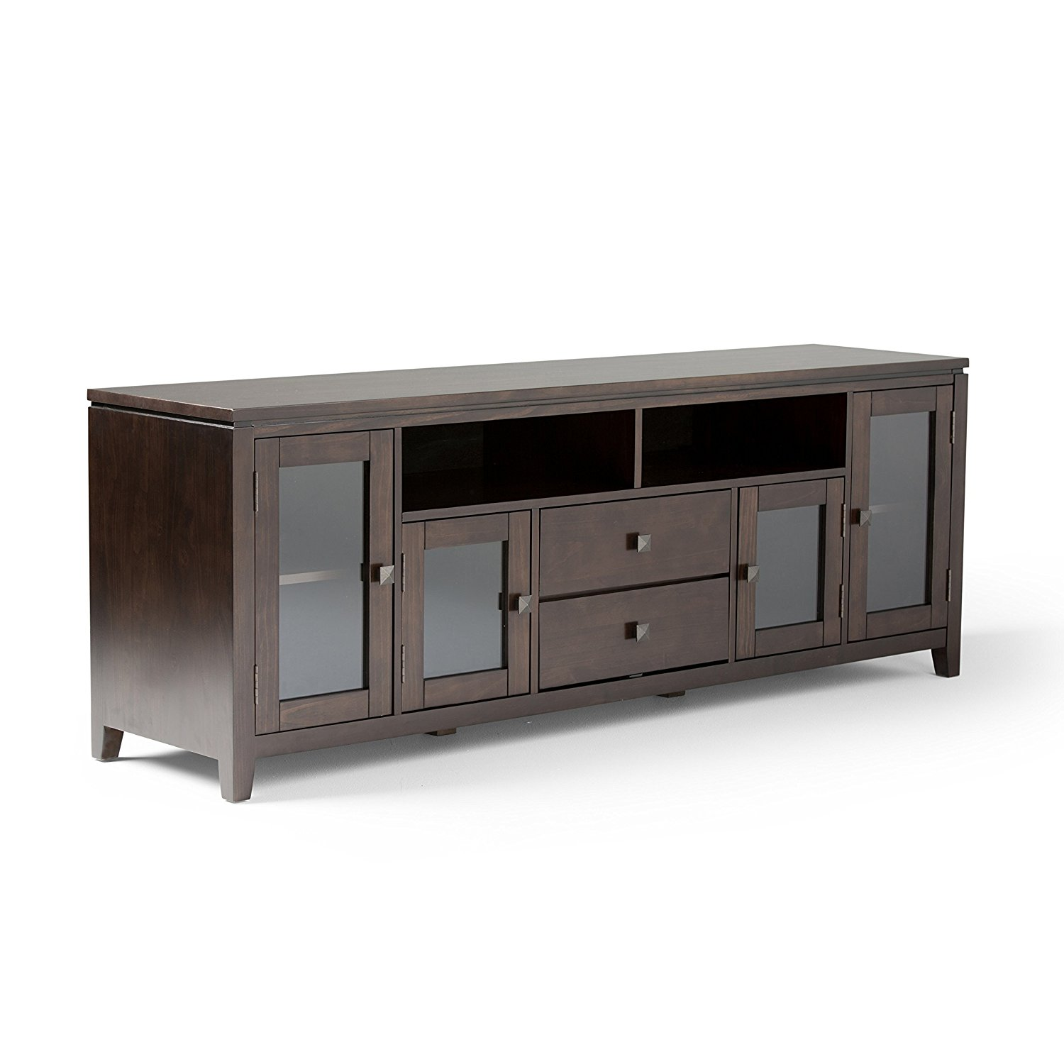 "Simpli Home Cosmopolitan Wide TV Media Stand, 72"", Coffee Brown"