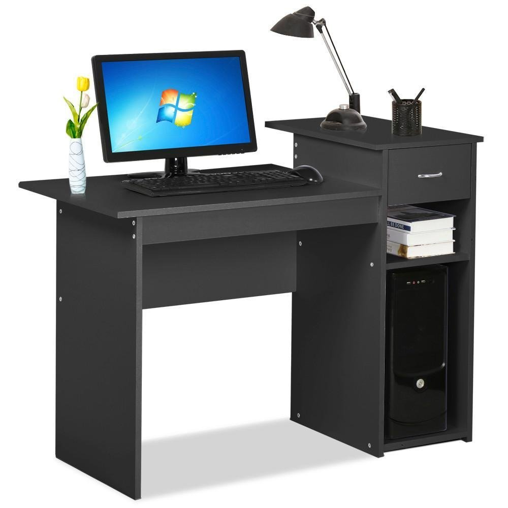 Topeakmart Black Compact Computer Desk with Drawer and Shelf Small Spaces Home Office Furniture