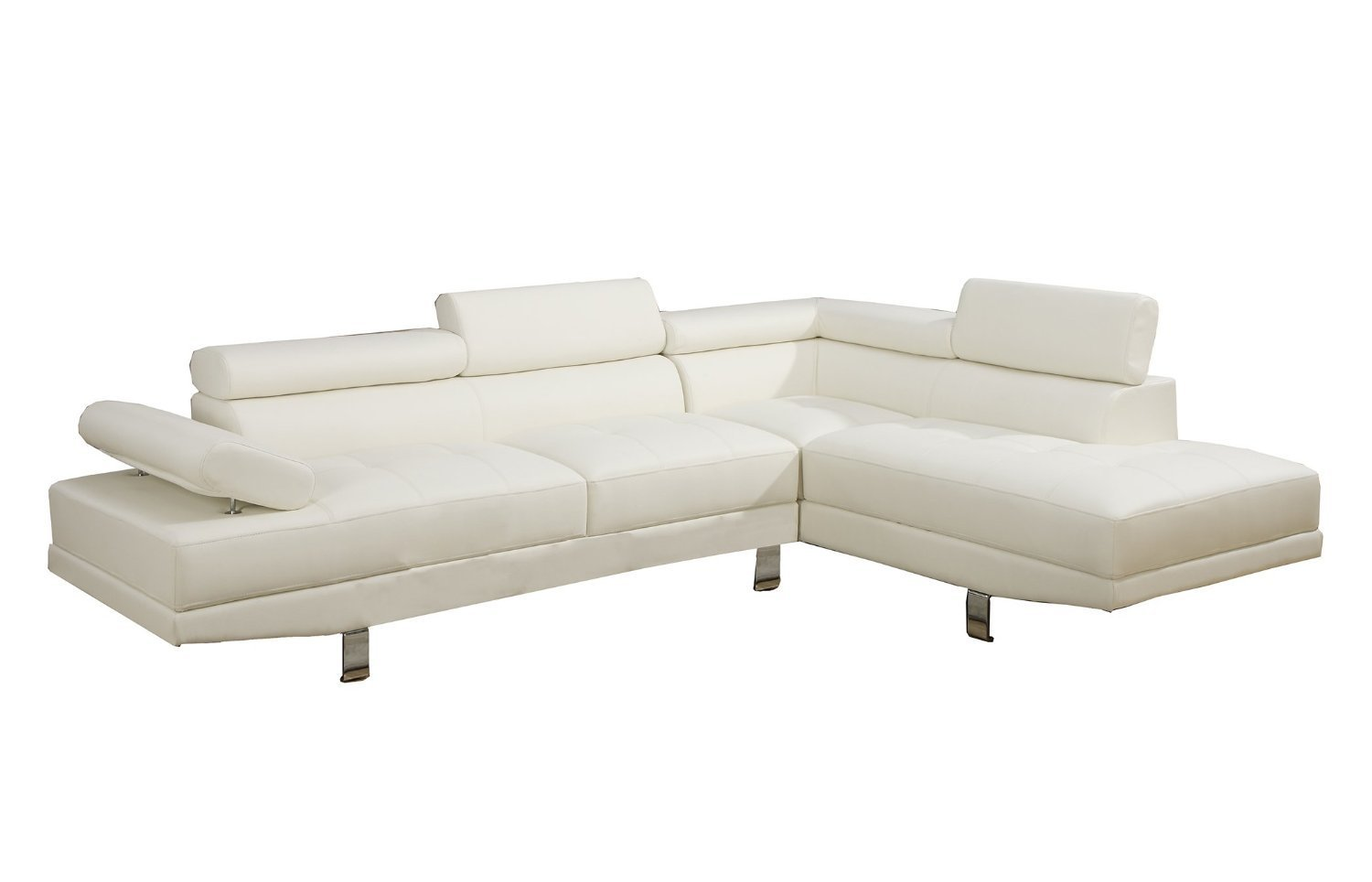 2 Piece Modern Contemporary Faux Leather Sectional Sofa