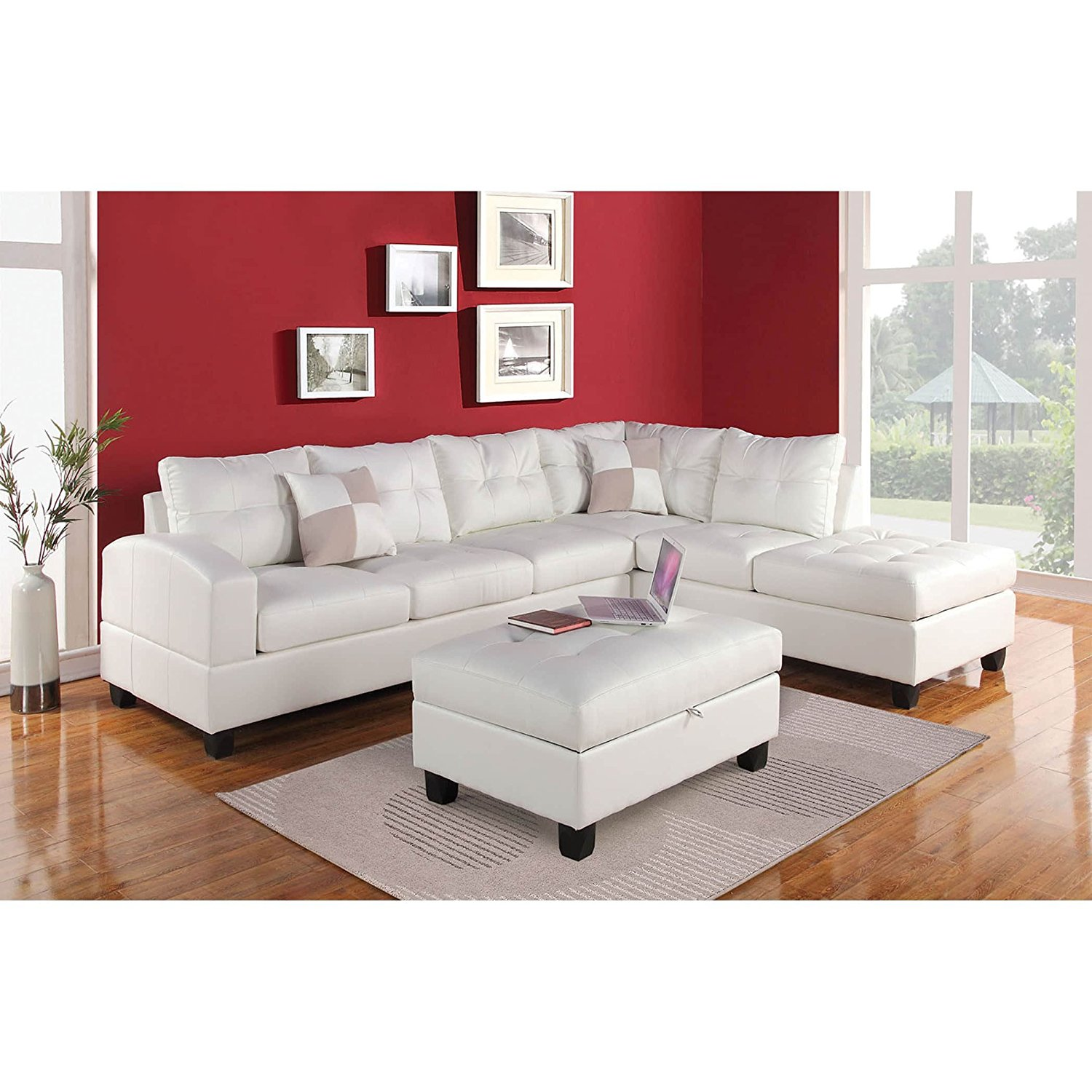 ACME Furniture Kiva 51175 Sectional Sofa with 2 Pillows, White Bonded Leather Match