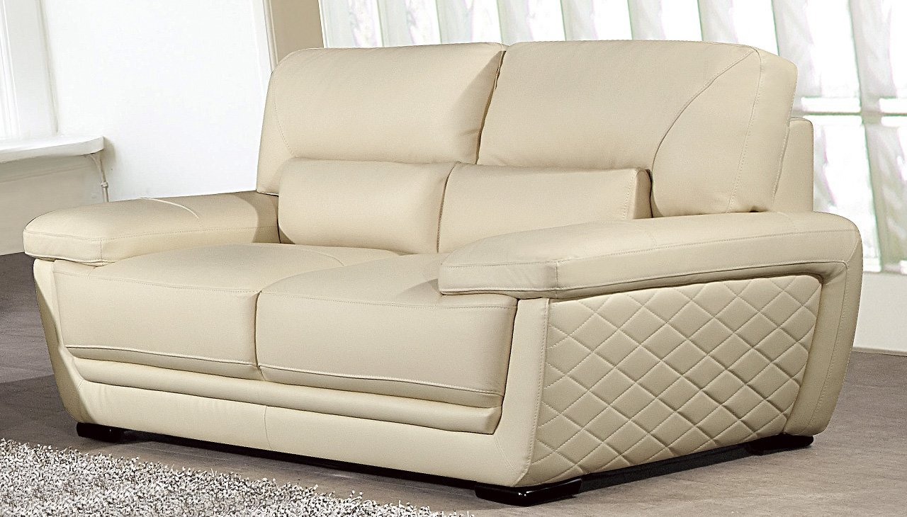 American Eagle Furniture Emma Collection Modern Top Grade Italian Leather Living Room Loveseat with Pillow Top Armrests, Cream