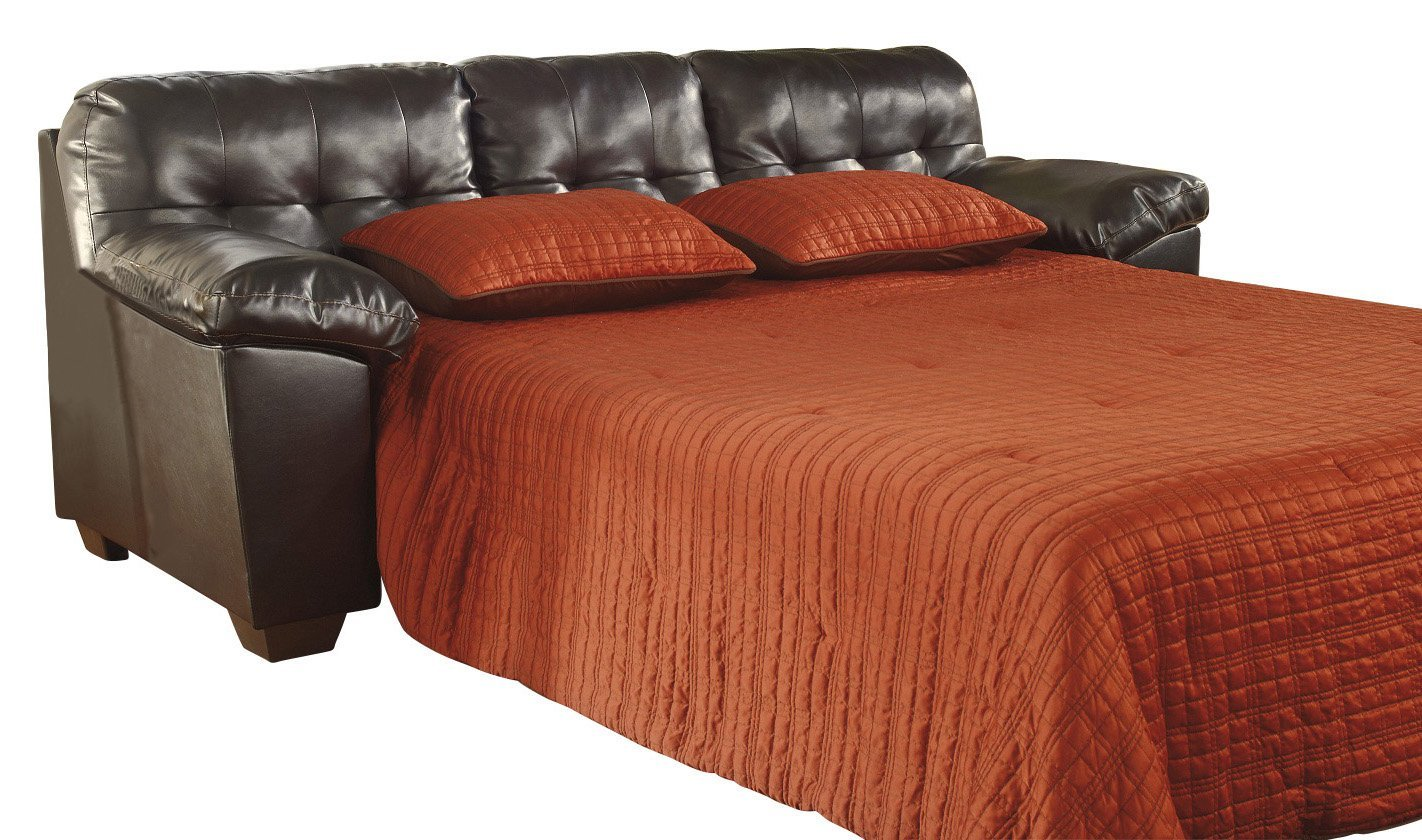 Ashley Furniture Signature Design - Alliston Sleeper Sofa - Queen Size - DuraBlend Upholstery - Contemporary - Chocolate