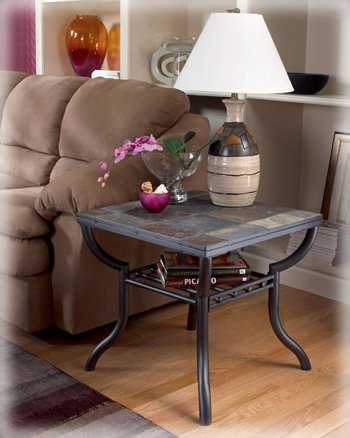 Ashley Furniture Signature Design - Antigo Living Room End Table - Slated Top with Metal Bottom - Contemporary - Black