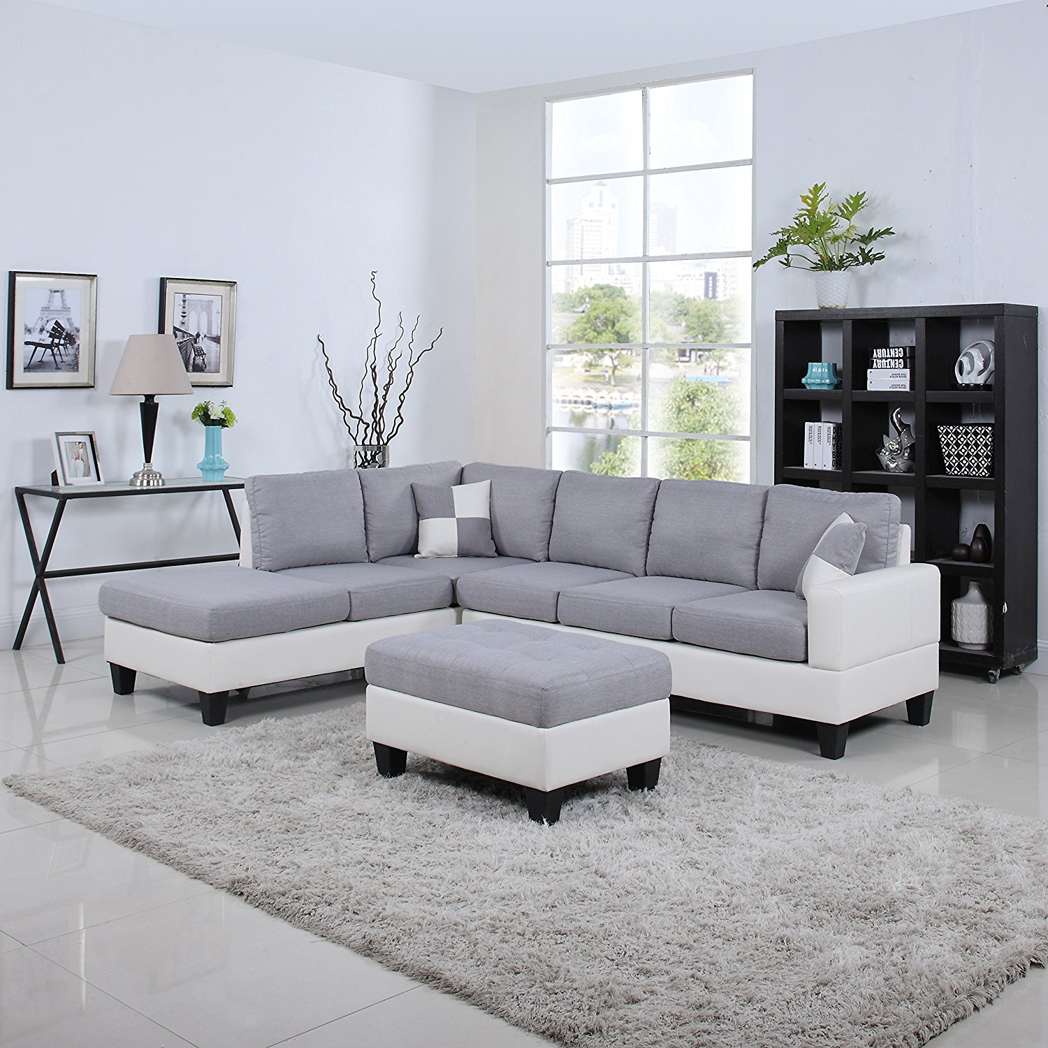 Classic Two Tone Large Linen Fabric and Bonded Leather Living Room Sectional Sofa (White / Light Grey)