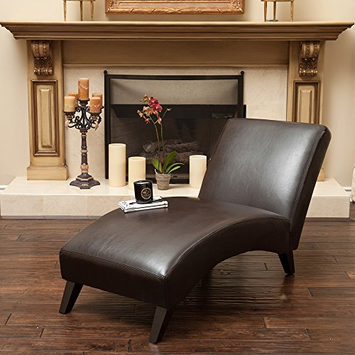 Cleveland Brown Leather Curved Chaise Lounge Chair
