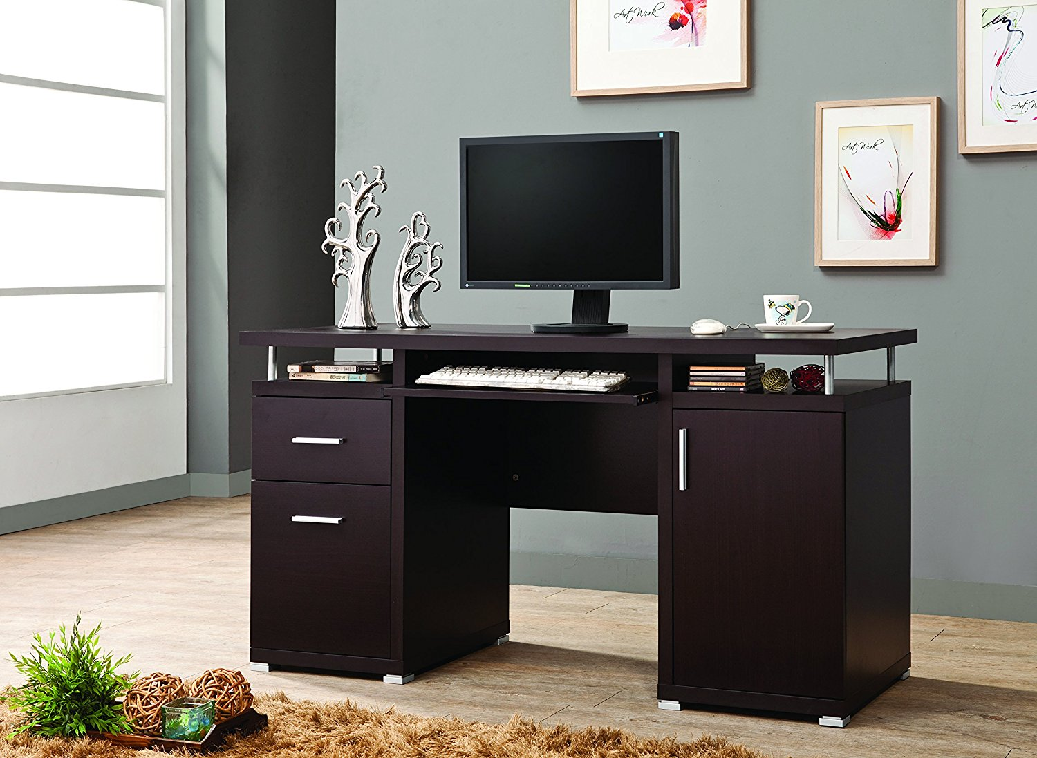 Coaster Home Furnishings 800107 Contemporary Computer Desk, Cappuccino