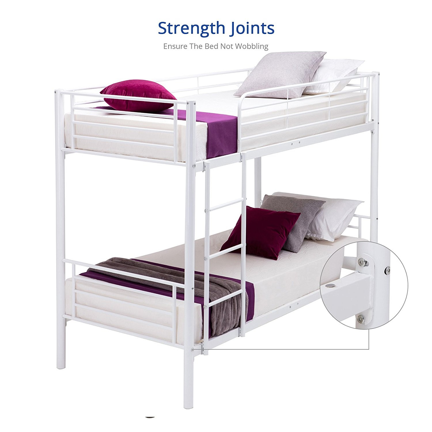 DFM Twin over Twin Metal Bunk Beds Frame Kids /Adult Bedroom Furniture with Ladder (White)