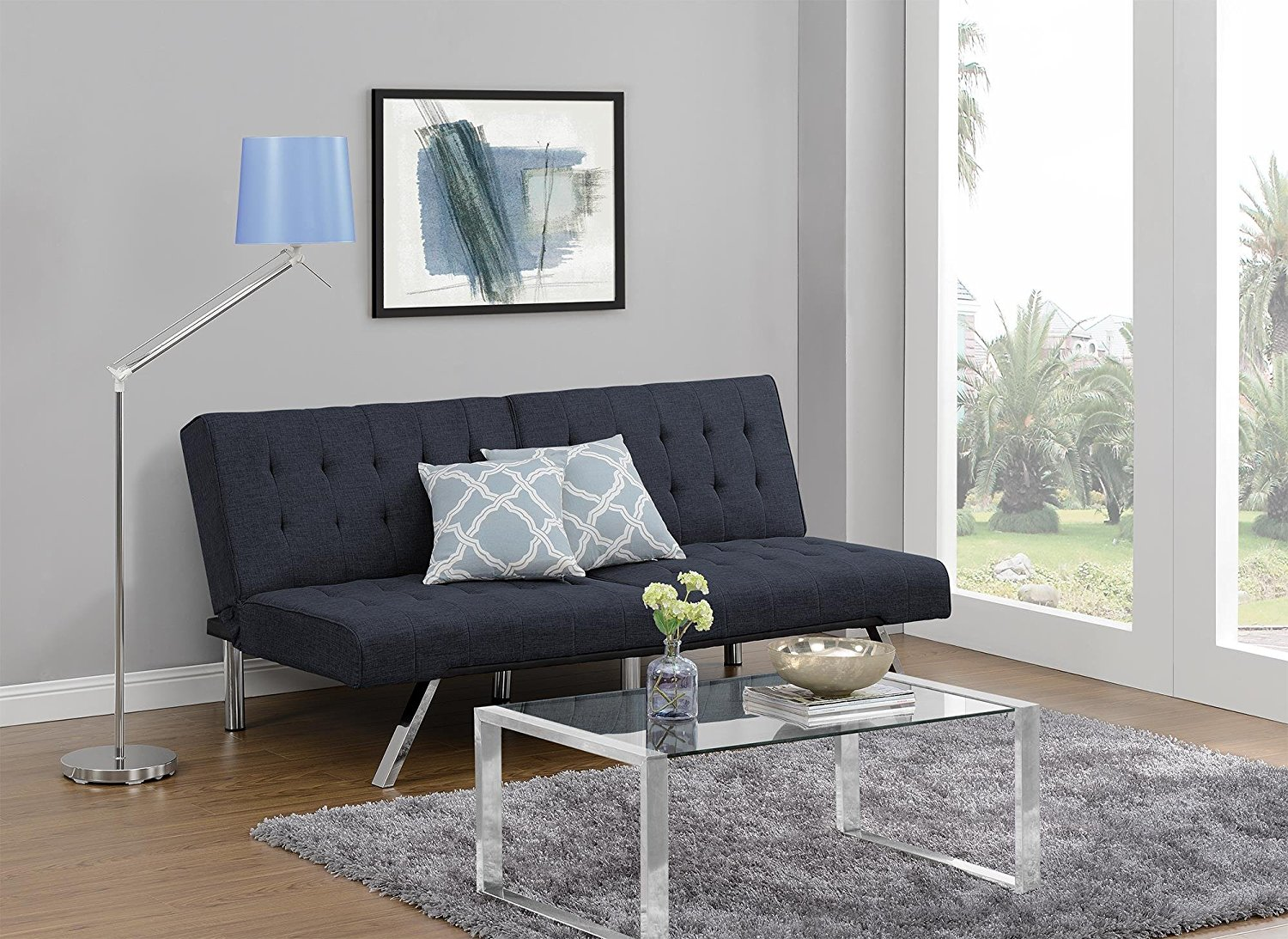 DHP Emily Futon Couch Bed, Modern Sofa Design Includes Sturdy Chrome Legs and Rich Linen Upholstery, Navy