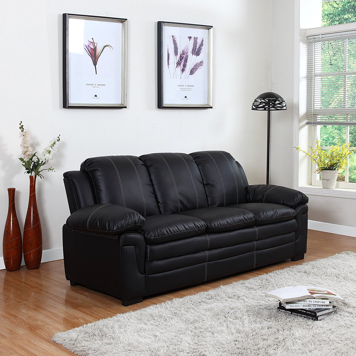 Divano Roma Classic Bonded Leather Sofa and Loveseat Living Room Furniture, Color Black, Brown, and White (Sofa, Black)