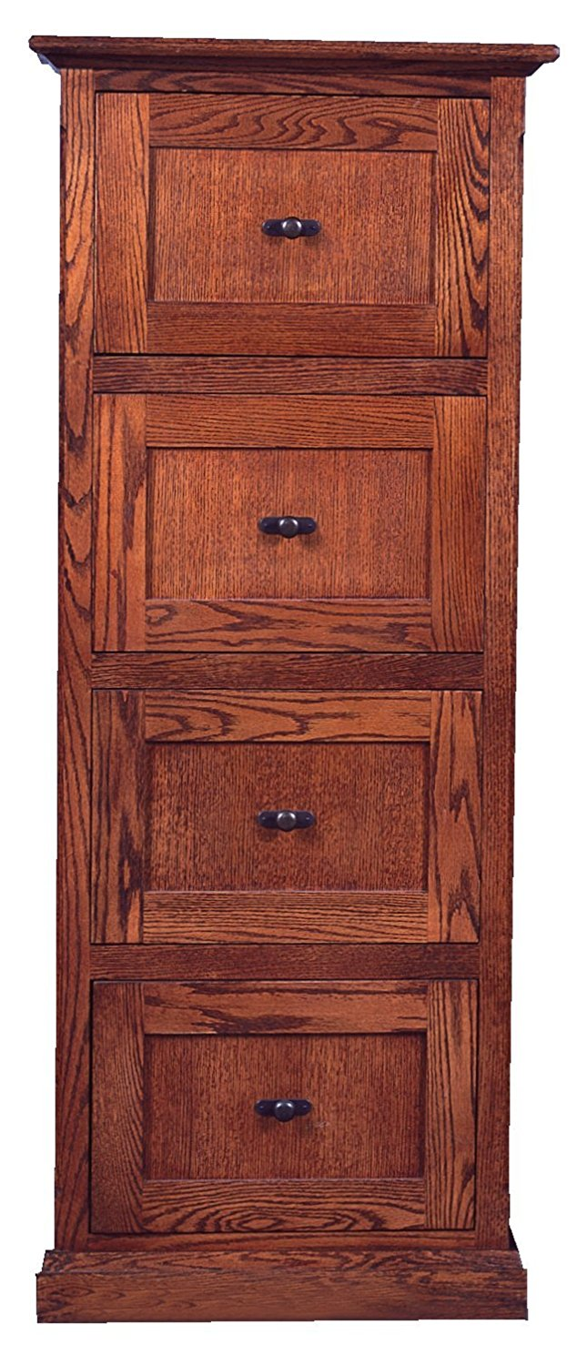 "Forest Designs Mission Four Drawer File Cabinet, 56""H, Antique Alder"