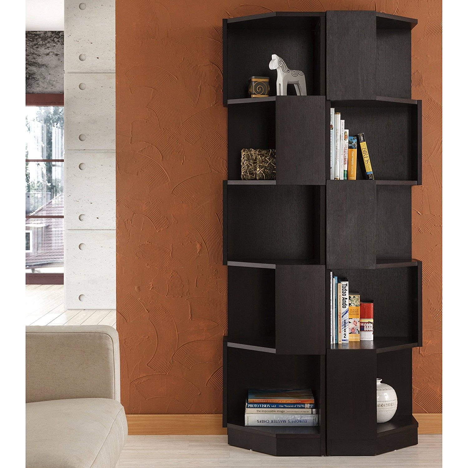 Furniture of America Austin Contoured Contemporary Wood Bookcase/ Display Stand