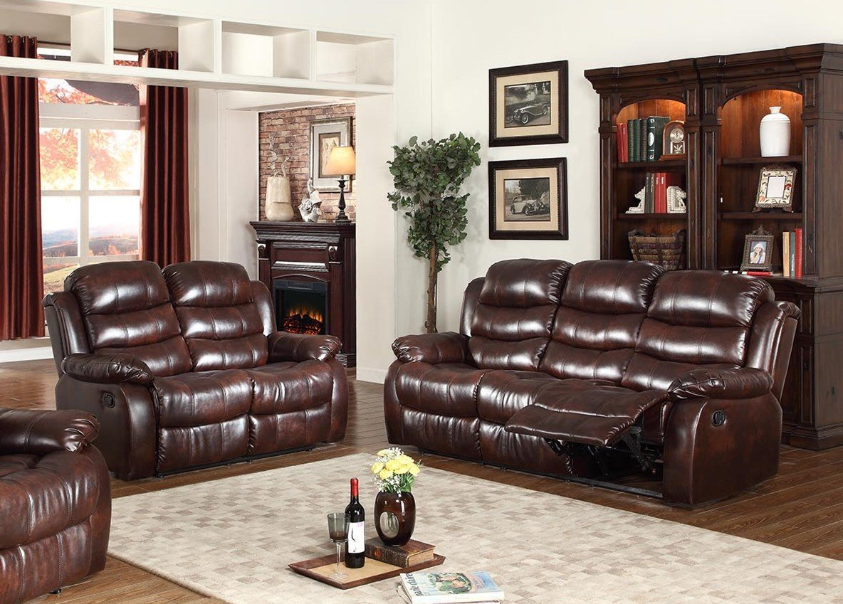 GTU Furniture Motion Sofa and Loveseat, 2Pc Living Room Bonded Leather Set (Sofa and Loveseat, Brown)