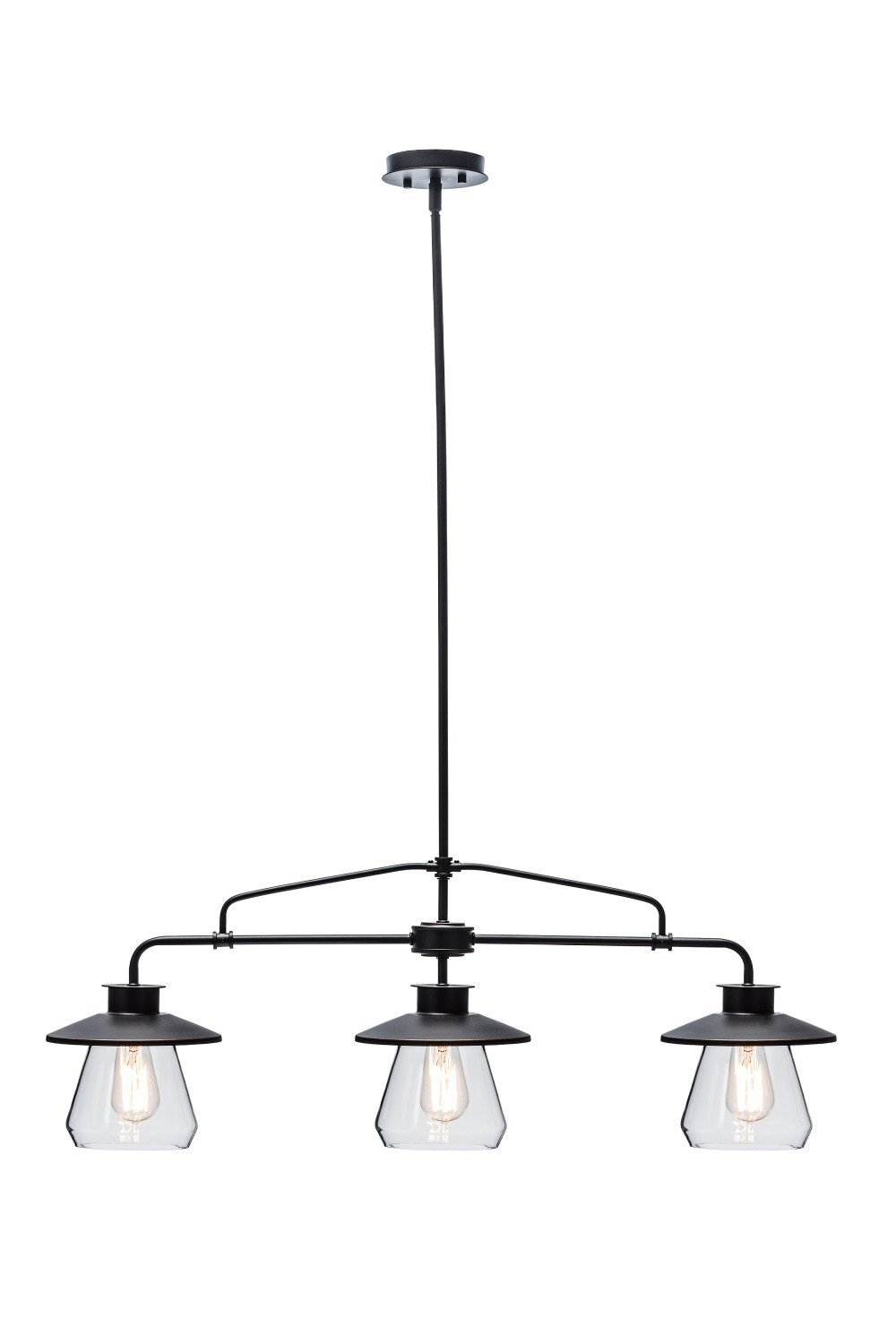 Globe Electric 3-Light Vintage Pendant, Oil Rubbed Bronze Finish, Clear Glass Shades, 64845