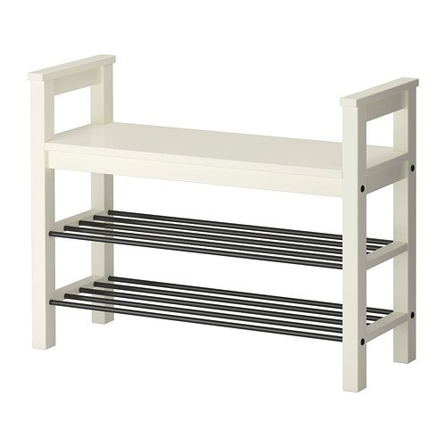 Hemnes Bench with Shoe Storage Rack White