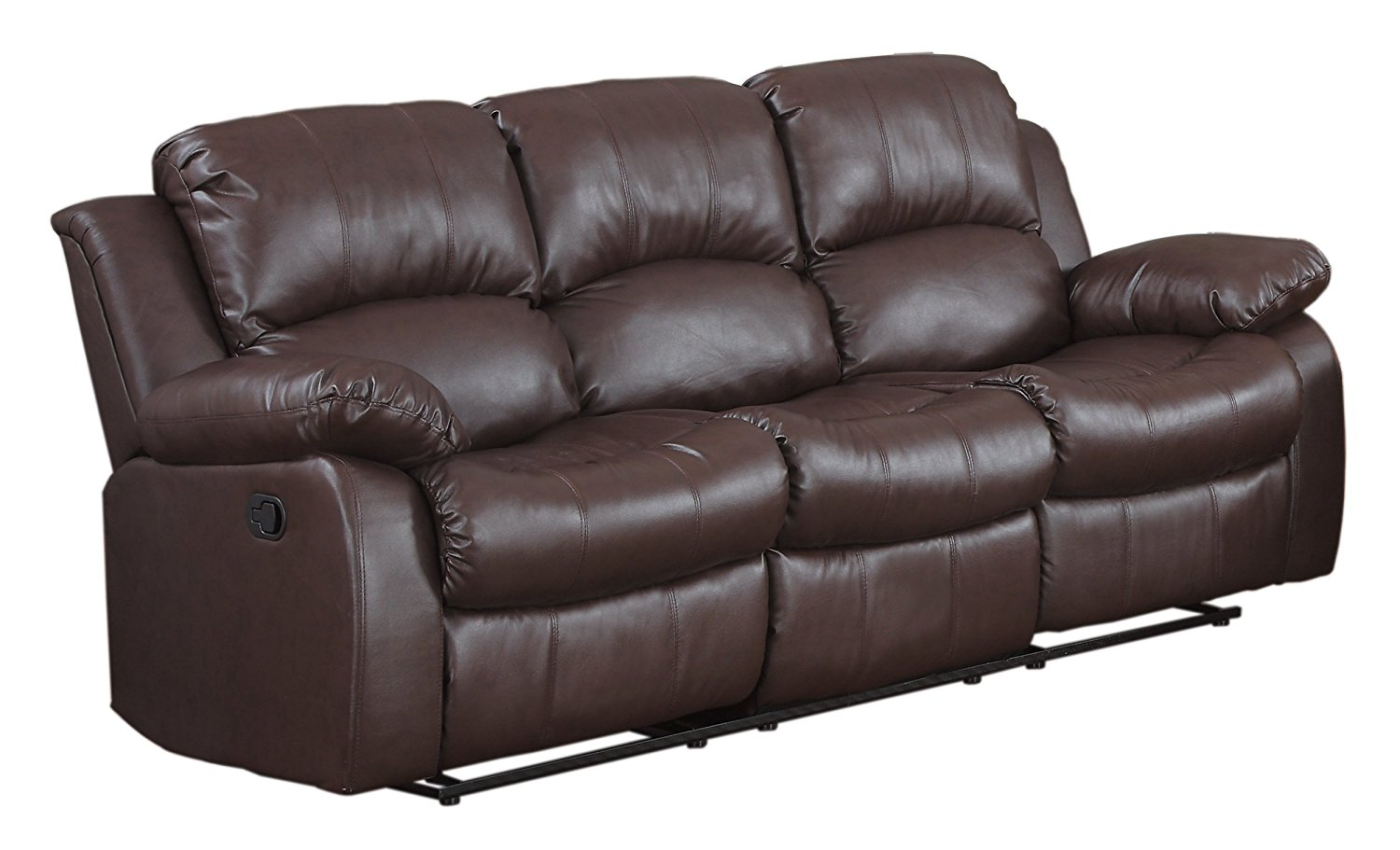 Homelegance Double Reclining Sofa, Brown Bonded Leather