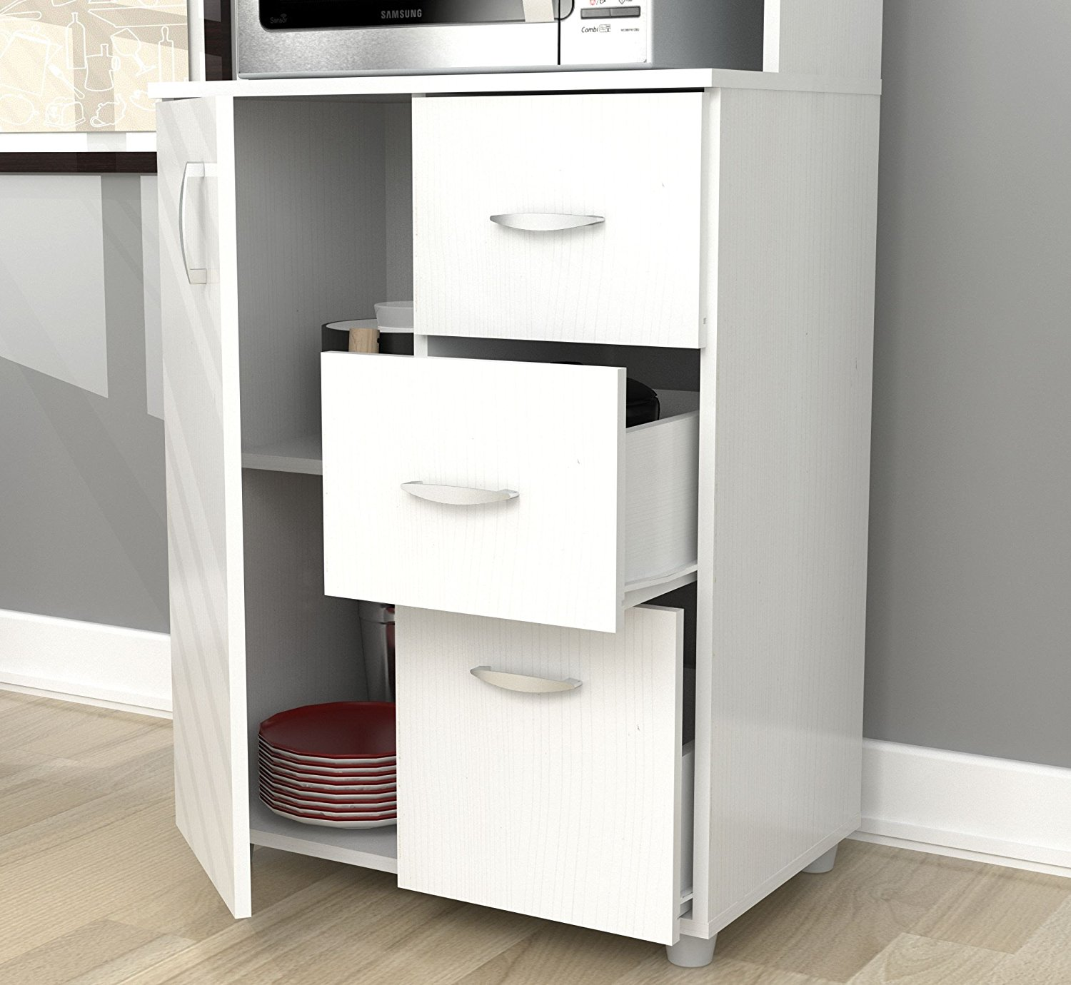 Inval America Larcinia-White Kitchen Cabinet