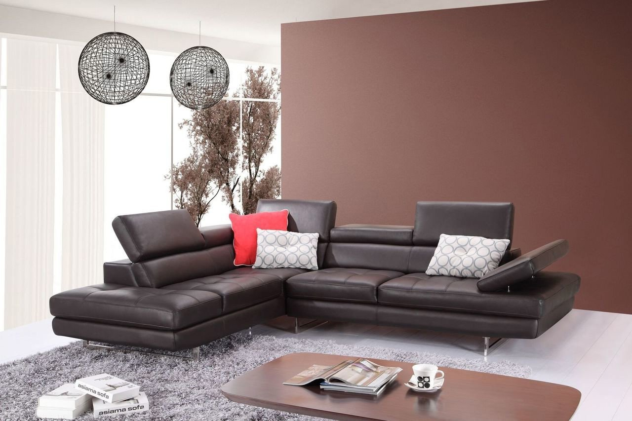 JM Furniture A761 Italian Leather Left Sectional in Coffee