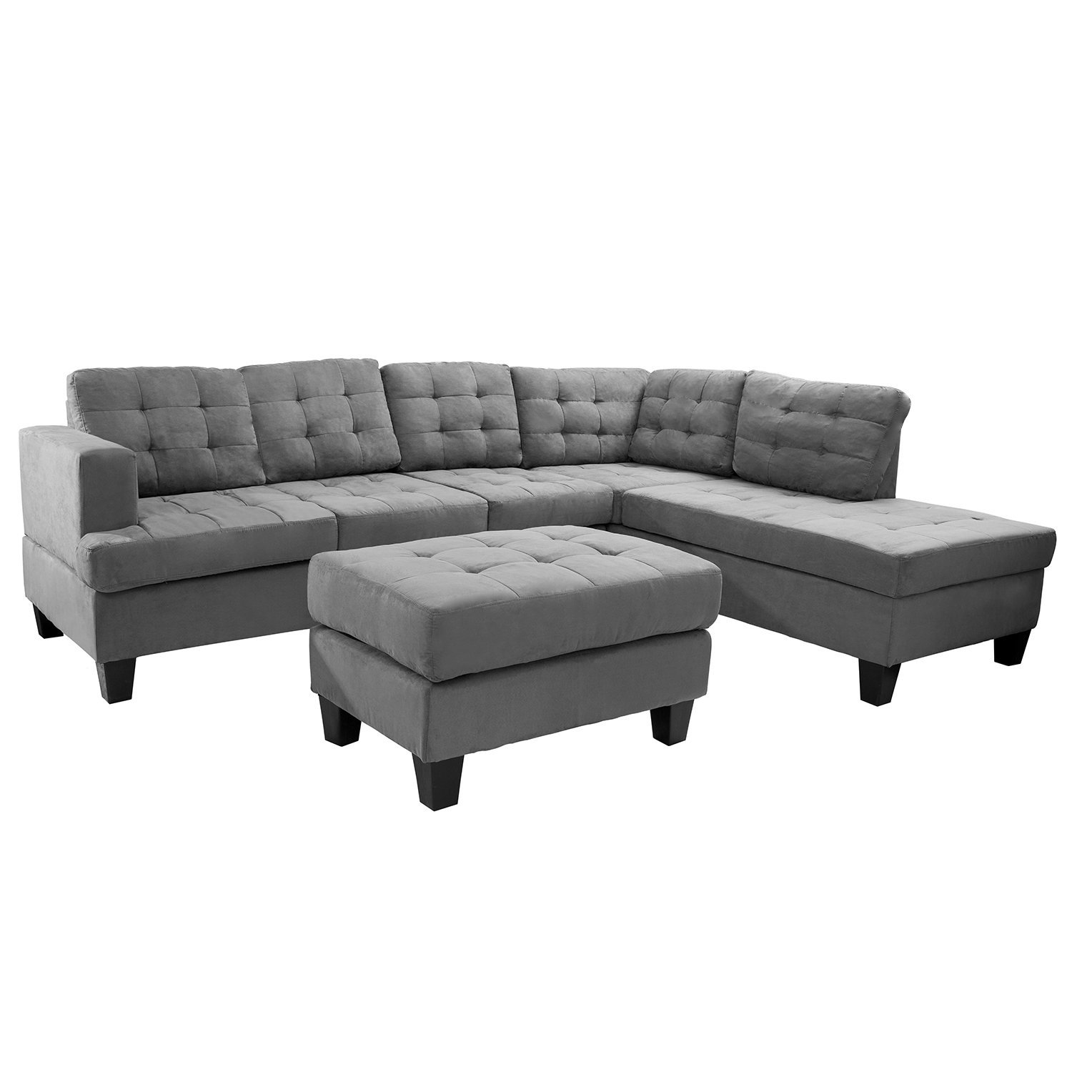 Merax 3-piece Reversible Sectional Sofa with Chaise and Ottoman, Suede Fabric / 6 pillows / Wooden Legs, Grey (Grey)