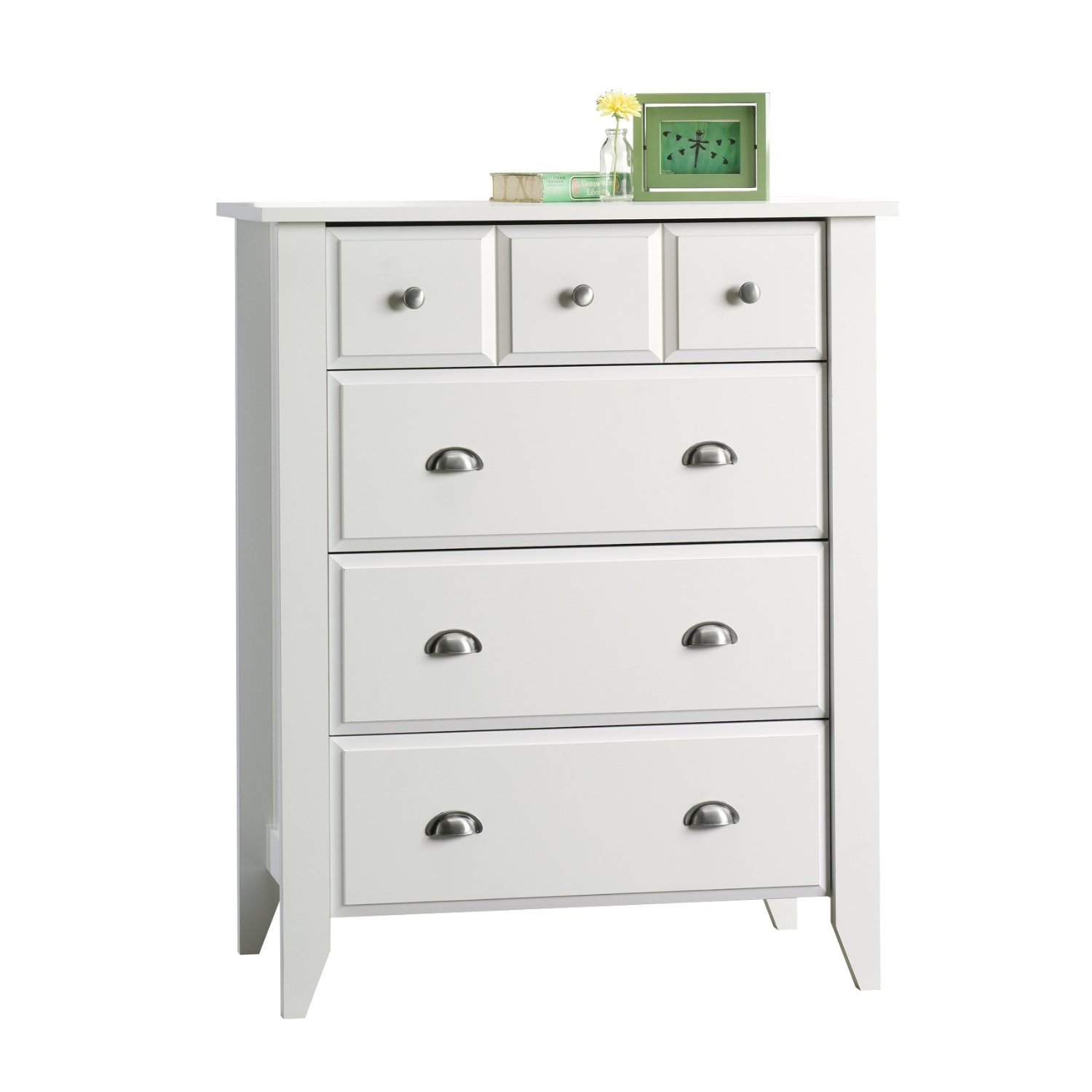 Modern Four Drawer Dresser - Contemporary Elegant Stylish Chest Indoor Furniture Home Living Room Bedroom Storage Additional (White)