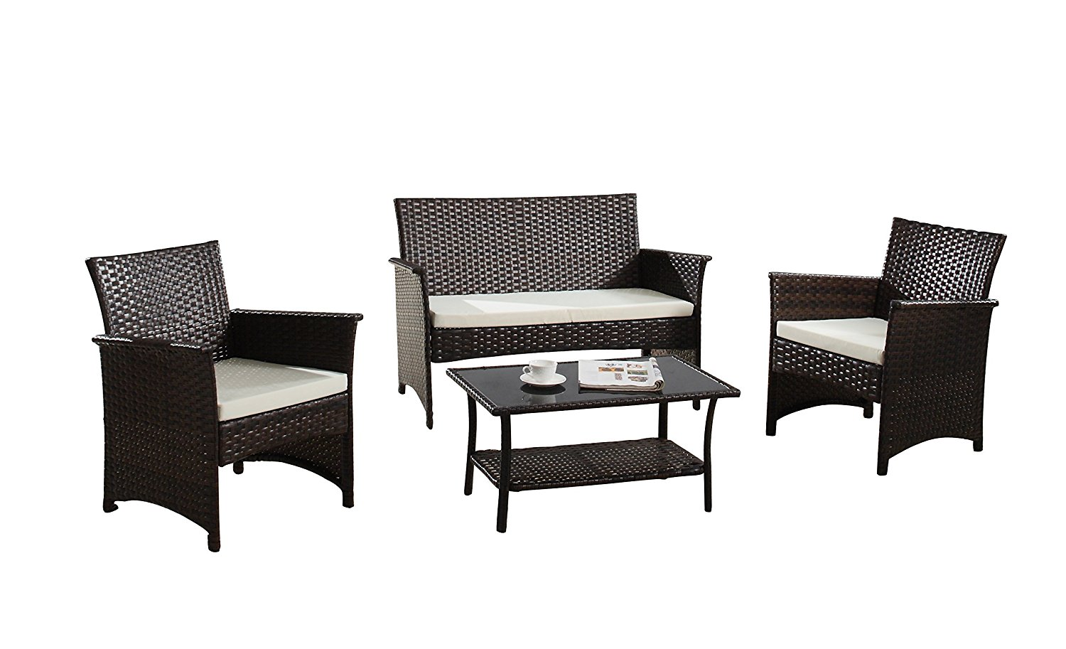 Modern Outdoor Garden, Patio 4 Piece Seat - Gray, Espresso Wicker Sofa Furniture Set (Espresso)