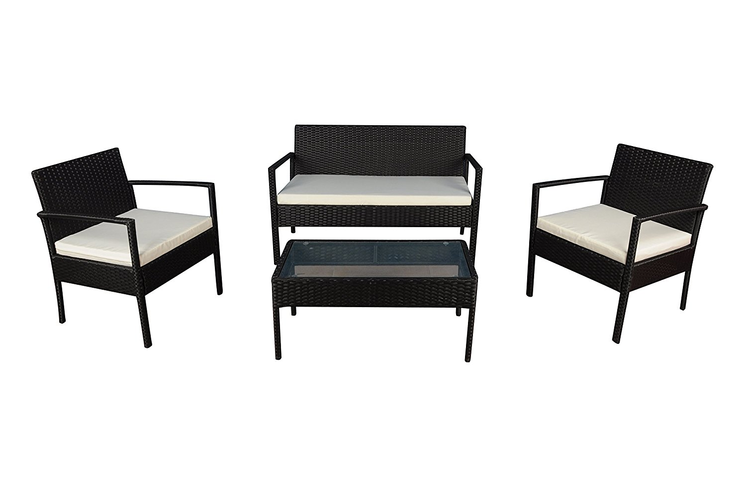 Modern Outdoor Garden, Patio 4 Piece Set - Wicker Sofa Furniture Set (Black / Ivory)