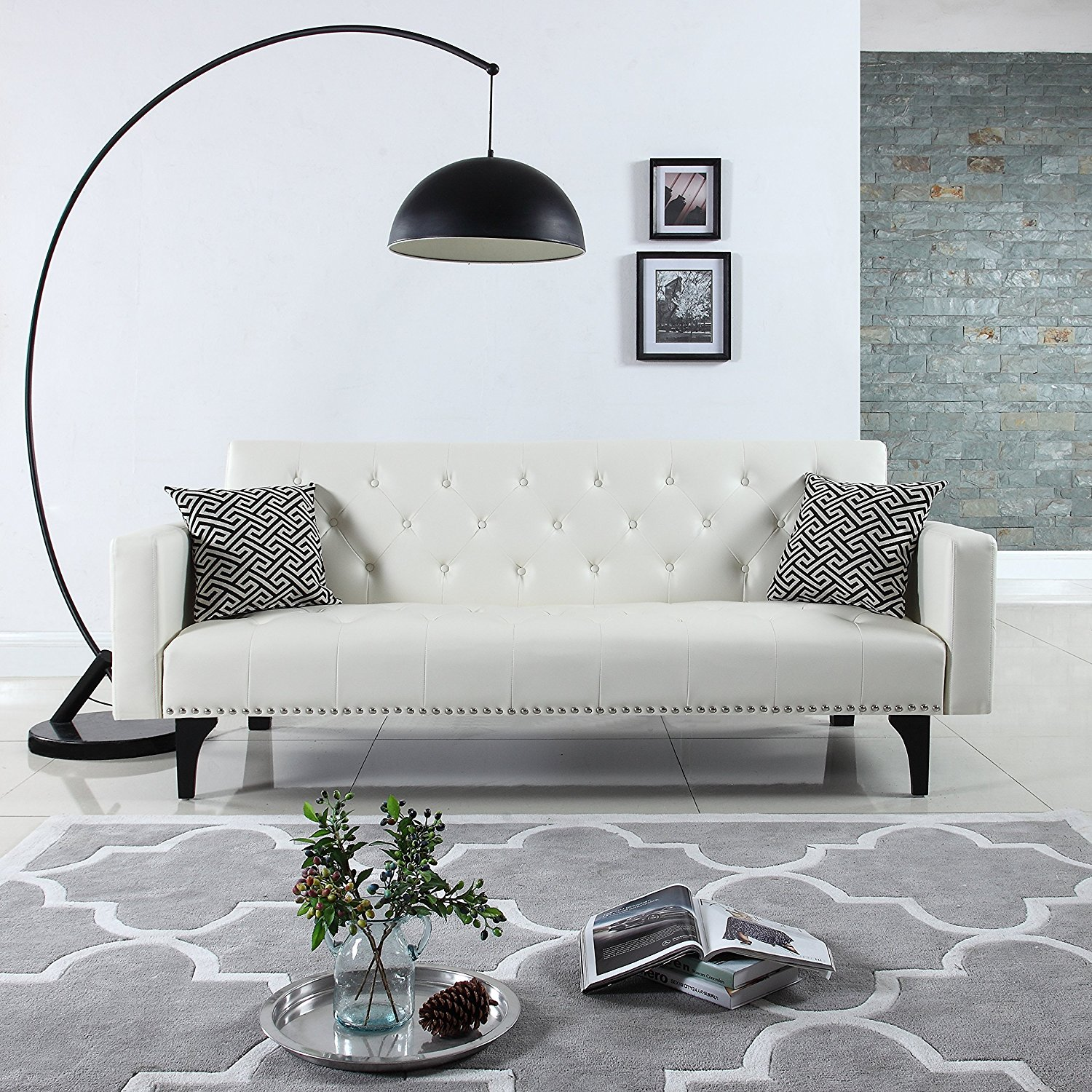Modern Tufted Bonded Leather Sleeper Futon Sofa with Nailhead, White