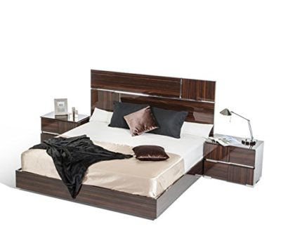 Modrest Picasso Italian Modern Ebony Lacquer Queen Bed Ebony/Ebony/Queen