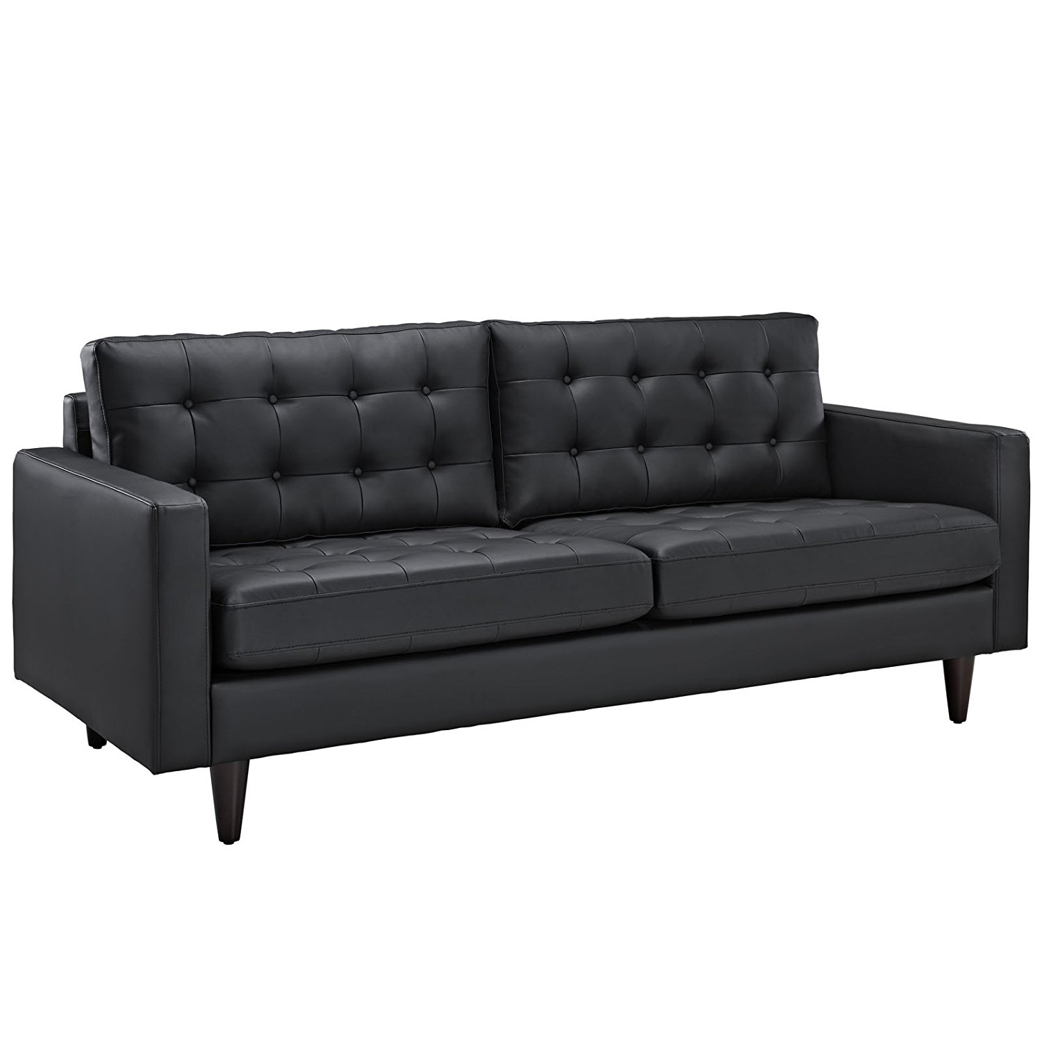 Modway Empress Mid-Century Modern Upholstered Leather Sofa In Black