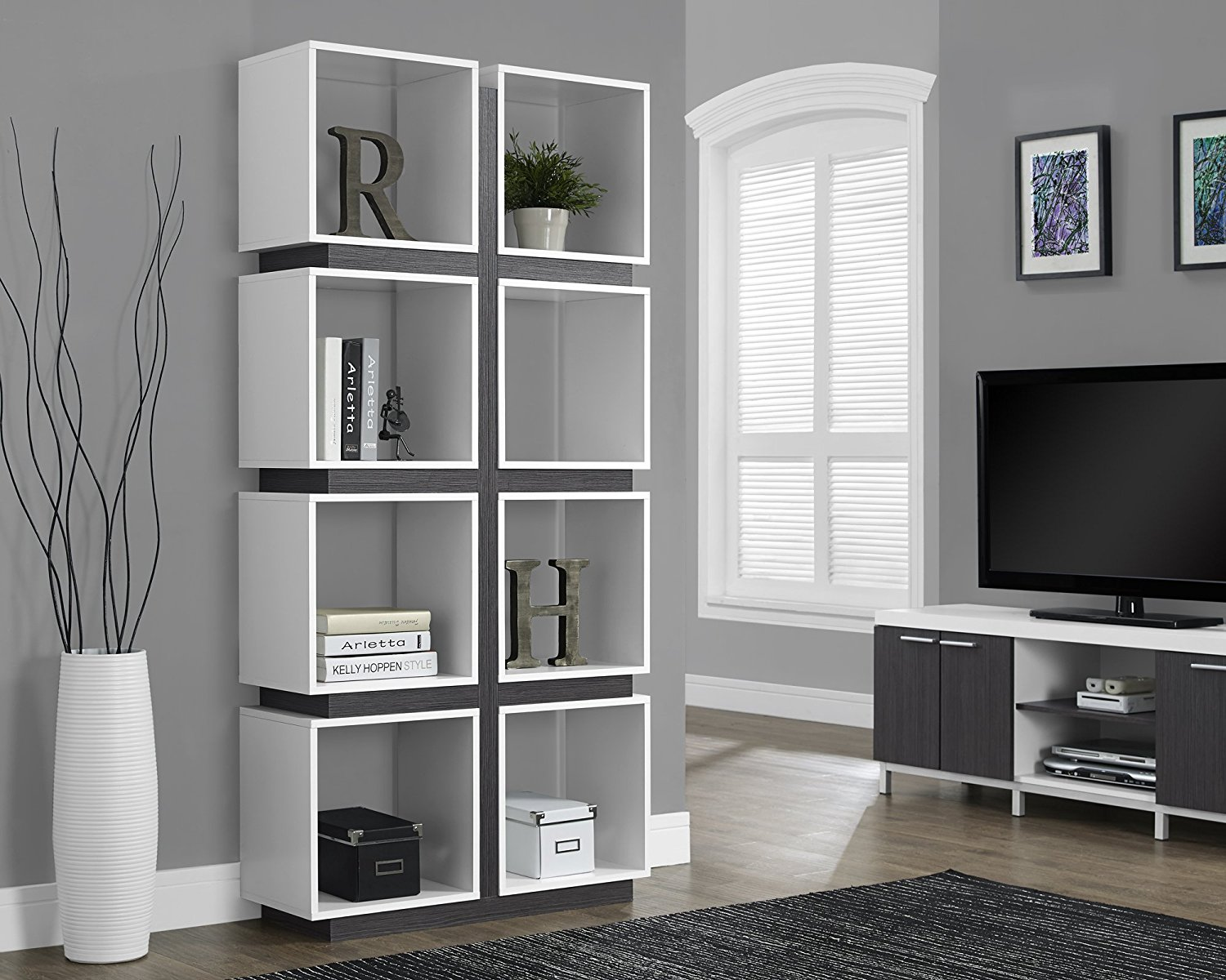 Monarch Specialties White/Grey Hollow-Core Bookcase, 71-Inch