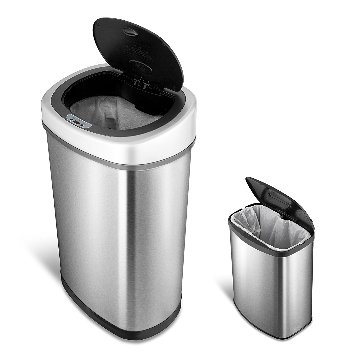 NINESTARS CB-DZT-50-9/8-1C The Original Touchless Automatic Motion Sensor Trash Can Combo Set, 13.2 Gal. / 50 L. & 2.1 Gal. / 8 L., Stainless Steel