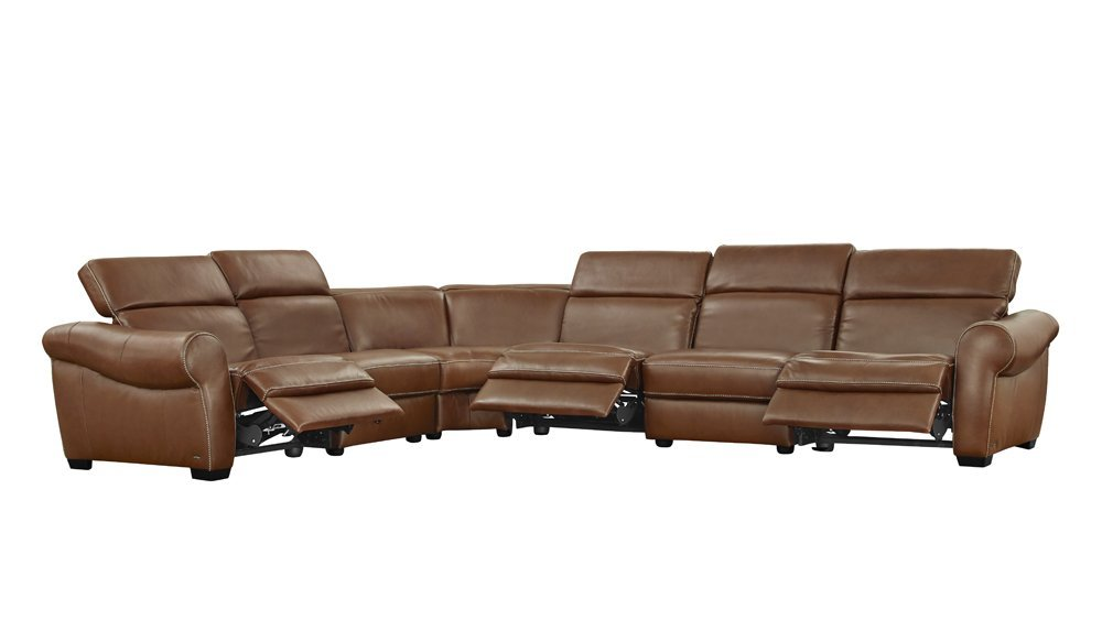 Natuzzi Editions Messina Sectional Reclining Left Arm Chair, 2 Armless Chairs, Corner Sofa, Reclining Armless Chair, and Reclining Right Arm Chair