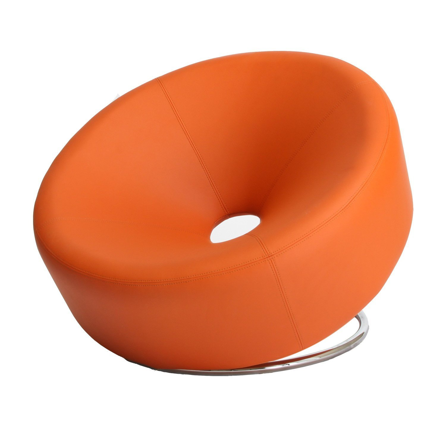 Nouvelle Modern Design Orange Leather Lounge Chair
