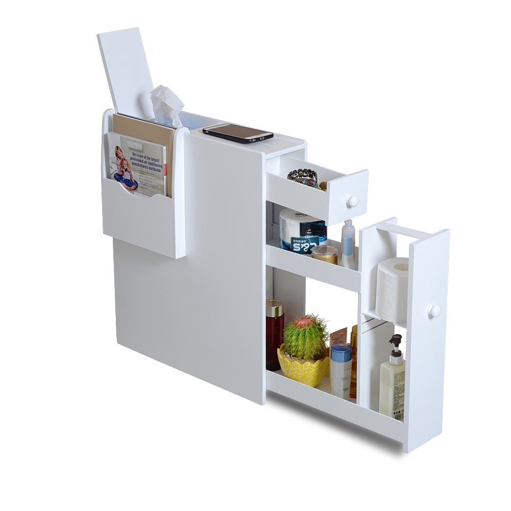 Organizedlife White Bathroom Floor Cabinet Storage with Drawer and Magazine Holder