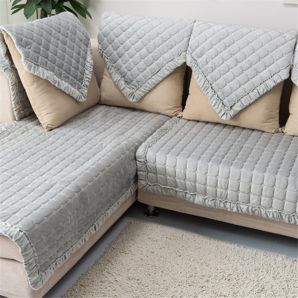 "OstepDecor Soft Short Floss Non-Slip Quilted Sofa Furniture Protectors for Winter With Multi Size Available (Grey), 36""W x 70""L (90 x 180cm)"