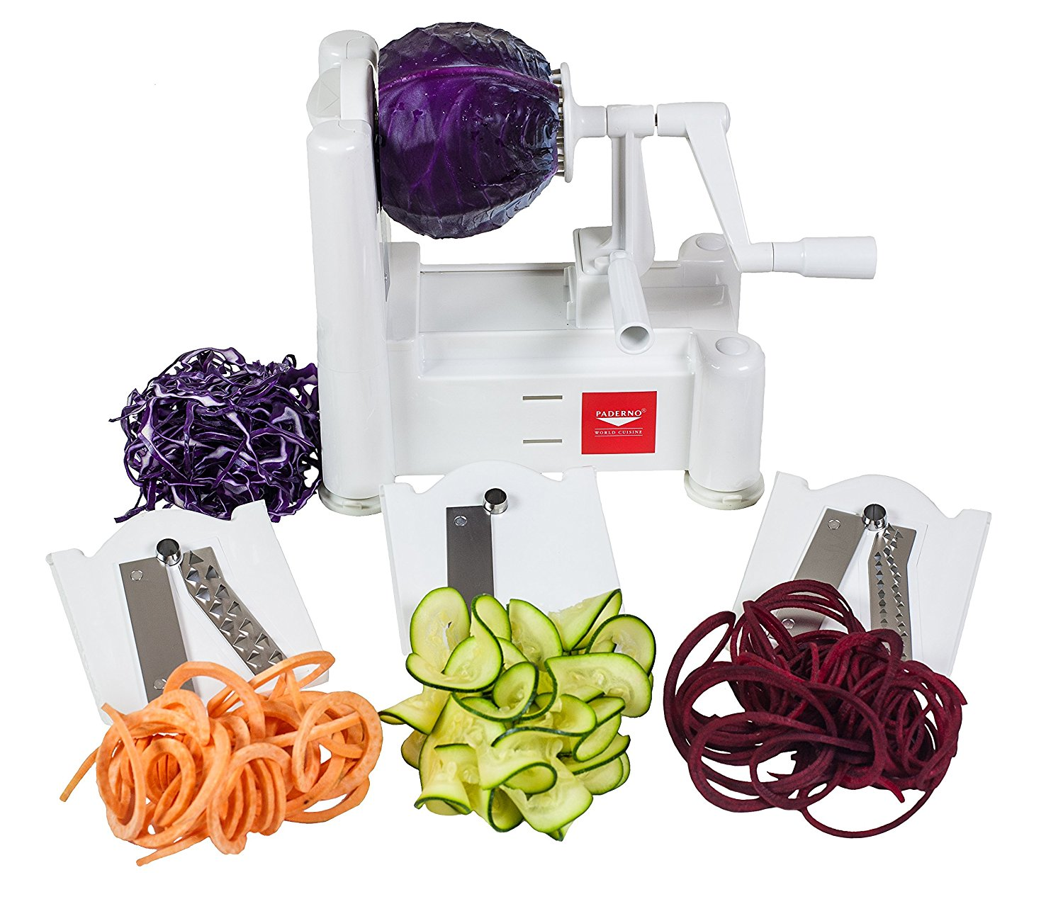 Paderno World Cuisine Spiral Vegetable Slicer / Countertop-Mounted Plastic Spiralizer Basic incl. 3 Different Blades Made of Stainless Steel
