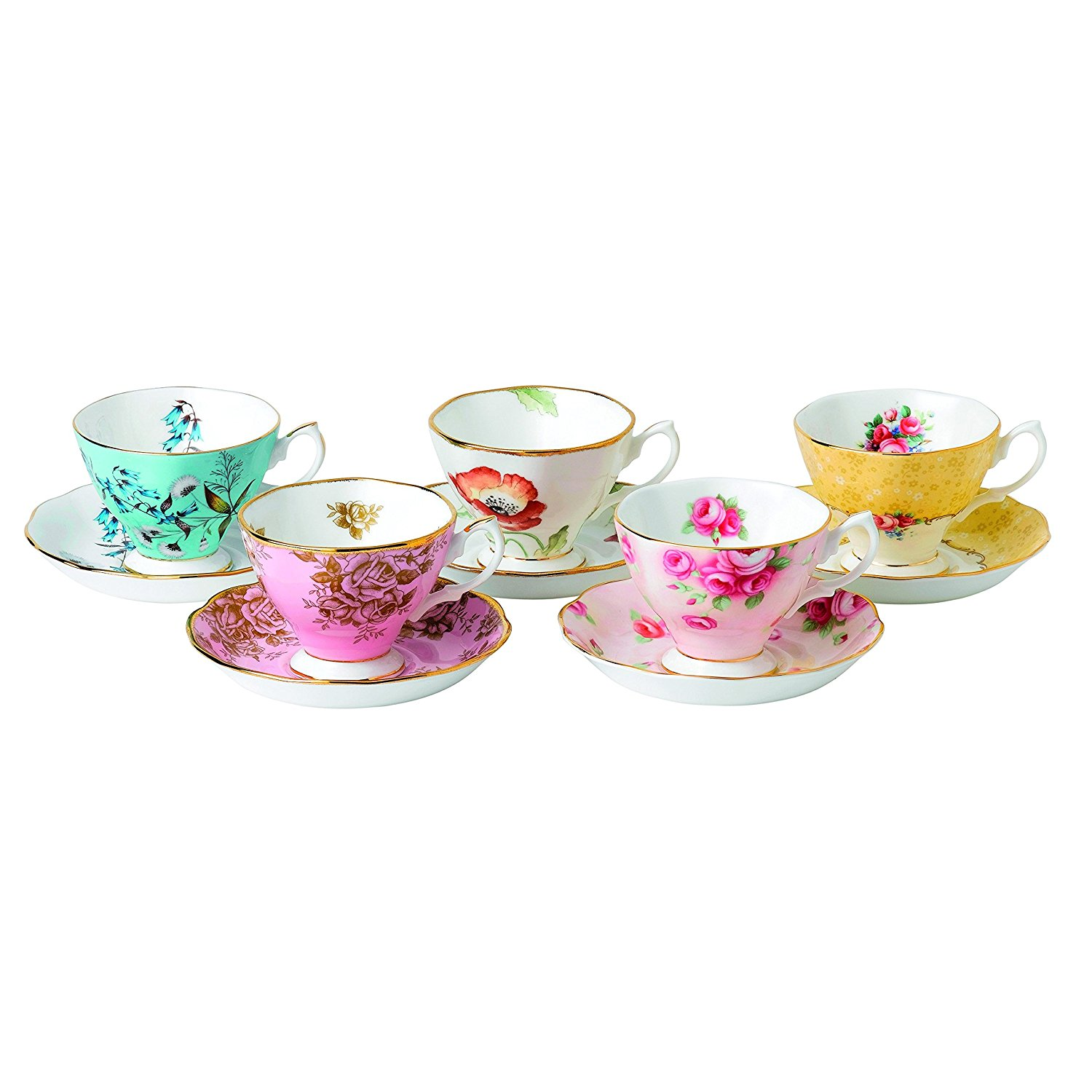 Royal Albert 5 Piece 100 Years 1950-1990 Teacup & Saucer Set, Multicolor