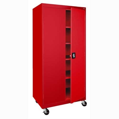 Sandusky Lee TA4R362472-01 Transport Series Mobile Storage Cabinet, Red
