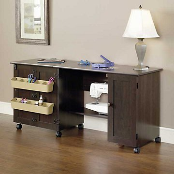 Sauder Sewing Craft Cart, Cinnamon Cherry Finish