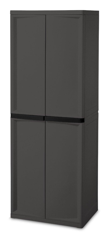 Sterilite 01423V01 4 Shelf Cabinet, Flat Gray Cabinet w/ Black Handles, 1-Pack