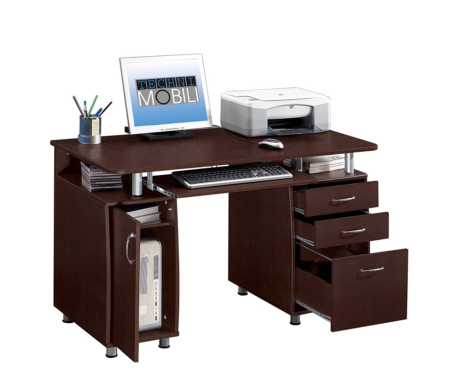 TECHNI MOBILI Complete Workstation Computer Desk with Storage - Chocolate
